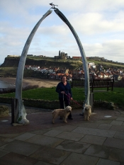 Whitby, the whale bones and abbey in the distance with Zoe, Roobarb and Alice.