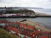 Whitby looking down at the harbour entrance.